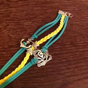Jewelry - 🌻🌻  Anchor 🌹  Rose Star Leather bracelet